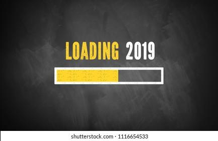 progress bar showing loading of 2019 drawn on a chalkboard