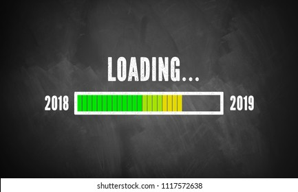 progress bar showing loading of 2019 drawn on a chalkboard