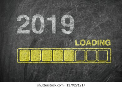 Progress Bar Showing Loading of 2019 New Year on Chalkboard extreme closeup