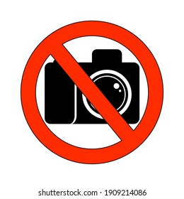 prohibiting camera sign drawing on white background