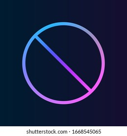 prohibition nolan icon. Simple thin line, outline of web icons for UI and UX, website or mobile application on dark blue gradient background