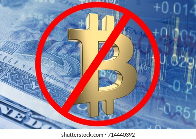 Prohibition sign with Bitcoin symbol, with the financial data visible in the background. 3D rendering.