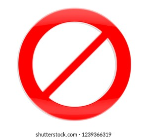 Prohibition sign on a white background.3d illustration