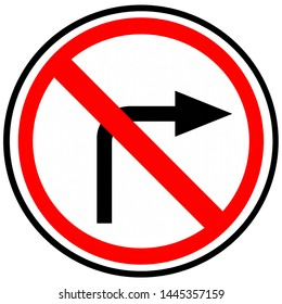 """Prohibition sign """"Turning to the right is prohibited."""" Russia"""