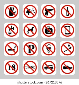 Prohibition signs, no symbols  icon set