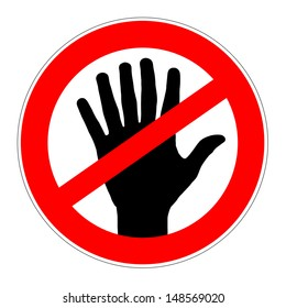 prohibition traffic sign with a six fingers human hand