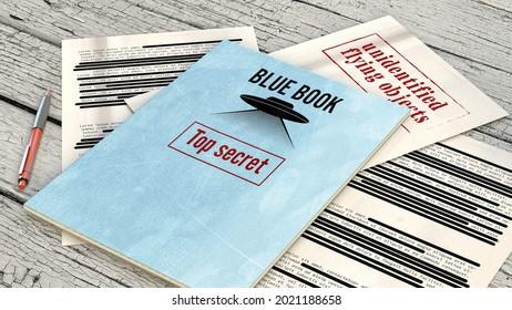 Le projet Blue Book était le nom de code pour l'étude systématique des objets volants non identifiés par l'armée de l'air des États-Unis. Documents et fichiers déclassifiés, fichiers top secret sur une table. Rendu 3d