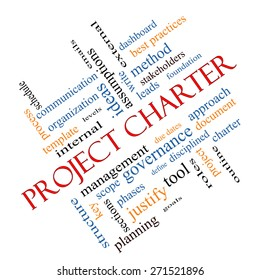 Project Charter Word Cloud Concept angled with great terms such as process, leads, method and more.