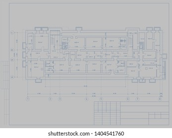 The project of the hotel with apartments and cafes. Basement layout. Illustration.