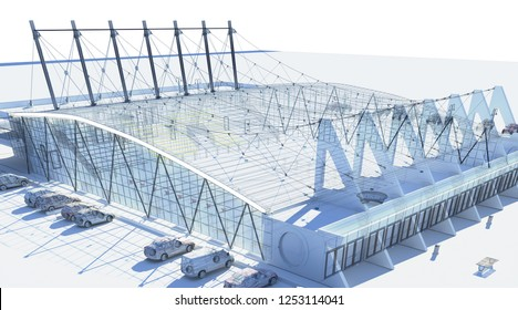 Project of a sports building, 3d illustration
