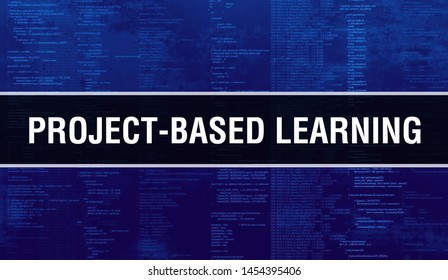 PROJECT-BASED LEARNING with Digital java code text. PROJECT-BASED LEARNING and Computer software coding vector concept. Programming coding script java, digital program code with PROJECT-BASED