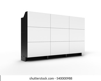 Projection cubes video wall with white screen left side 3D illustration