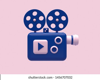 projector machine cartoon style 3d render pink blue technology concept