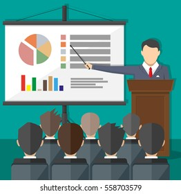 projector screen with chart pie and lecturer do presentation to other business people. Training staff, meeting, report, business school. illustration in flat style
