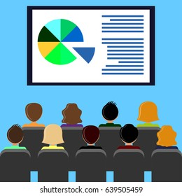 Projector screen with financial report, presentation. Training staff, meeting, report, business school. Illustration in flat style.