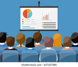 projector screen with financial report. Training staff, meeting, report, business school. illustration in flat style.