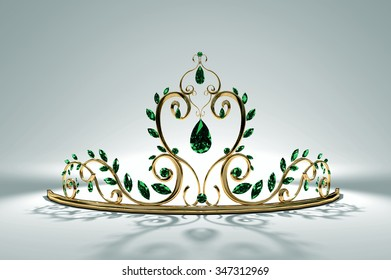 Prom Tiara - Emerald  A tiara for the prom or a princess, here in gold and emeralds... Original design, 3d render and model by the artist.