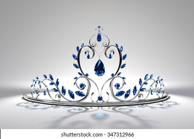 Prom Tiara - Silver & Sapphire  Here the tiara is in silver and set with sparkling sapphires...  Original design, 3d render and model by the artist.