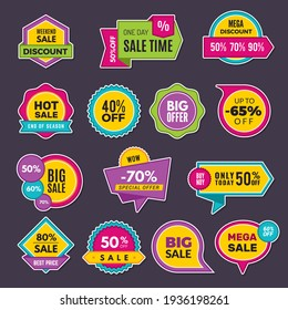 Promo stickers. Discount badges or labels price tags sales announce collection