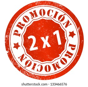 promotion 2x1 grunge stamp, in spanish language