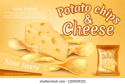 promotion banner with realistic potato chips and piece of cheese, high-calorie meal, foil package with crispy salted snacks on yellow background. Mockup for brand advertising, packaging design
