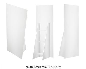Promotion board banner stands tree displays for design work (3D render)
