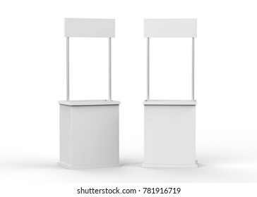 Promotion counter on isolated white background, 3d illustration