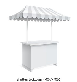 Promotion counter on wheels and a triangular roof covered with striped awning, Retail Trade Stand Isolated on the white background. MockUp Template For Your Design. 3D illustration