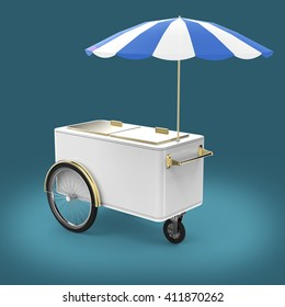 Promotion counter on wheels with umbrella, food, ice cream, hot dog push cart Retail Trade Stand Isolated  3d render