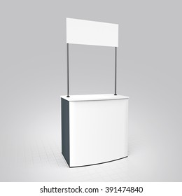 Promotion counter, Promo stand, sales Kiosk Retail Trade Stand Isolated on the white background. MockUp Template For Your Design. 3d render