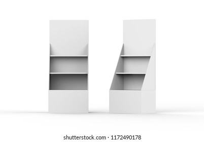 Promotion counter, Retail Trade Stand and product display shelf isolated on the white background, 3d illustration