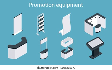 Promotion equipment icon set. Isometric white blank exhibition display stand, trade show booth, promotion counter mockup set.
