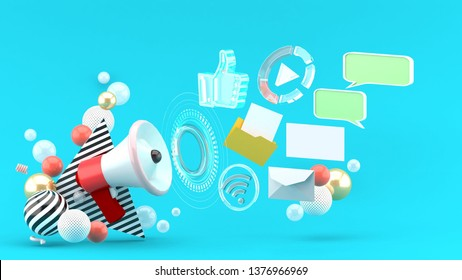 Promotion megaphone surrounded by work files, letters, messages and pictures among colorful balls on a blue background.-3d rendering.