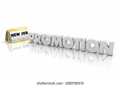 Promotion New Job Business Cards Words 3d Illustration