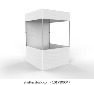 Promotional Advertising Outdoor Event Trade Show Canopy table Tent Mobile Marquee. Mock Up, Template. 3d render Illustration Isolated On White Background. Small Size.