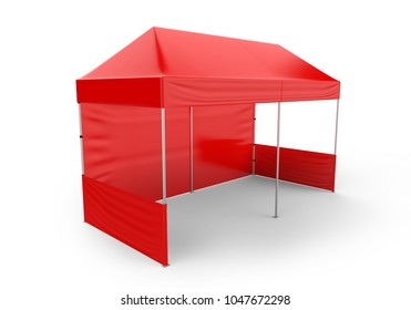 Promotional Advertising Outdoor Event Trade Show Canopy Tent Mobile Marquee. Mock Up, Template. 3d render Illustration Isolated On White Background. Ready For Your Design. Product Advertising.