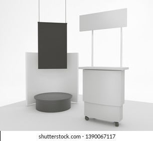 Promotional Booth With Black Banner. Product POS Stand. Blank Empty Display. 3D render