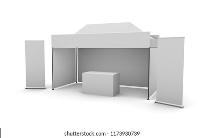Promotional Outdoor Event Trade Show Mockup with canopy tent, roll up´s and counter. 3d rendering
