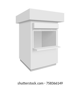 Promotional or trade outdoor kiosk. 3d Illustration isolated on white background. Graphic concept for your design