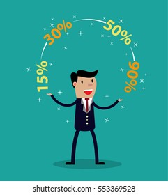Promotions discounts sale. Businessman juggling discounts sale. Business concept trade. illustration in flat style Raster version.