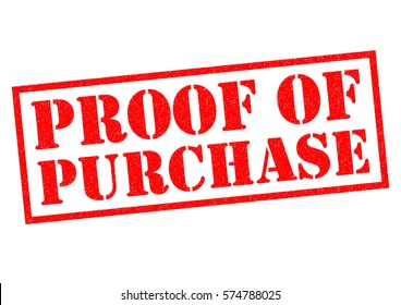 PROOF OF PURCHASE red Rubber Stamp over a white background.