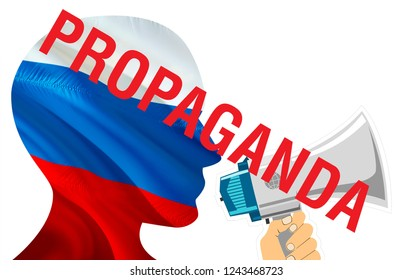Propaganda text on Russia flag 3D rendering. Russian flag waving in the wind. Russian Fake news concept. russian economy RT today latest world news concept. Aggression country concept.Fake concept