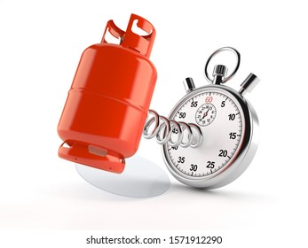 Propane bottle with stopwatch isolated on white background. 3d illustration