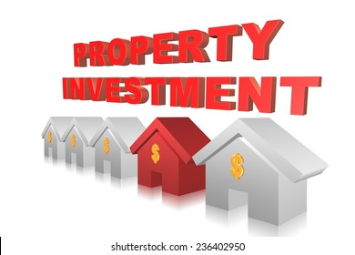 Property investment concept in 3D with red house among other houses