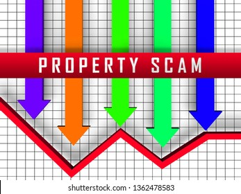 Property Scam Hoax Arrows Depicting Mortgage Or Real Estate Fraud. Residential Properties Realty Swindle - 3d Illustration