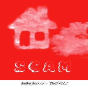 Property Scam Hoax Cloud Depicting Mortgage Or Real Estate Fraud. Residential Properties Realty Swindle - 3d Illustration