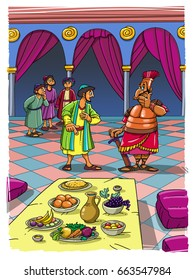 Prophet Daniel and his four friends are showing loyalty to God in the Babylonian captivity, and do not eat unclean food, but eat only fruits and vegetables