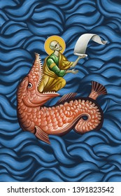 The prophet Jonah and the Whale. Jonas leaving a fish. Illustration - fresco in Byzantine style.