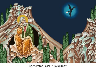 Prophet saint Elijah and raven bringing food. Miracle of the ravens. Illustration in Byzantine style