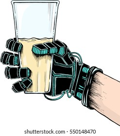 Prosthetic hand holding a glass of juice (isolated on a white background)